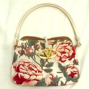 VALENTINO Garavani leather and floral stitched bag